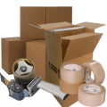 Moving supplies: cardboard boxes and packing tape