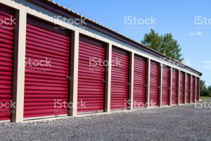 red doors of storage units